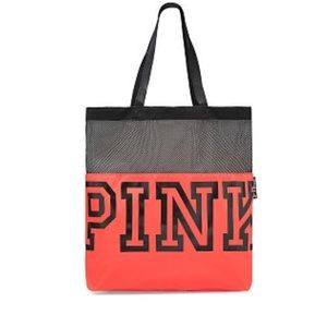 NWT Victorias Secret Pink Red & Black Mesh Tote